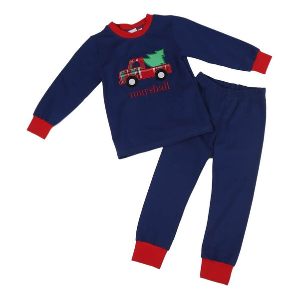 Navy Knit Truck and Tree Pajamas