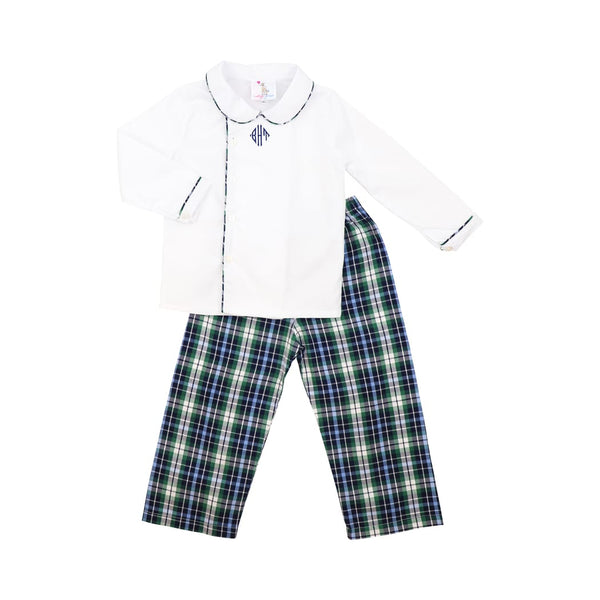 Navy and Green Plaid Pant Set