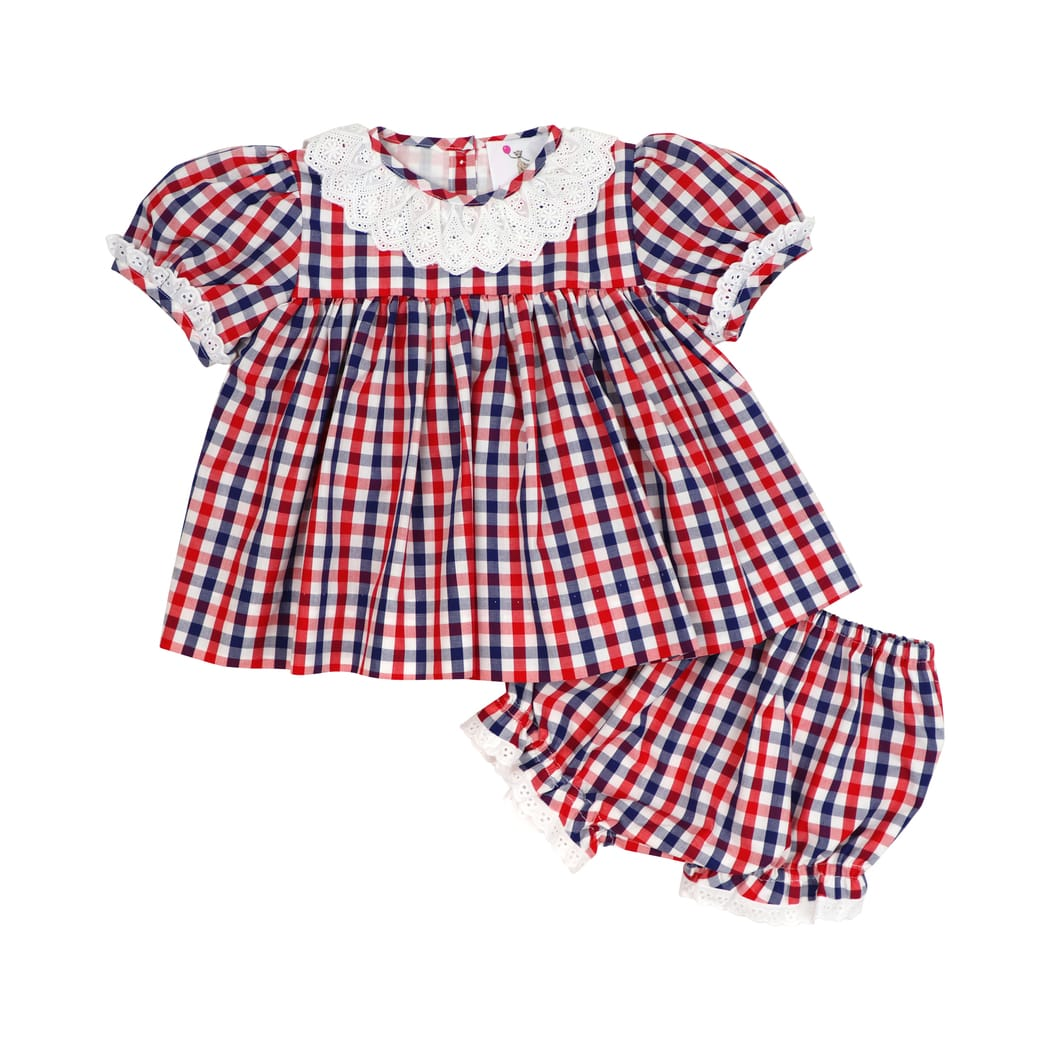 Navy and Red Check Eyelet Diaper Set
