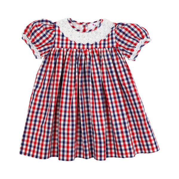 Navy and Red Check Eyelet Dress