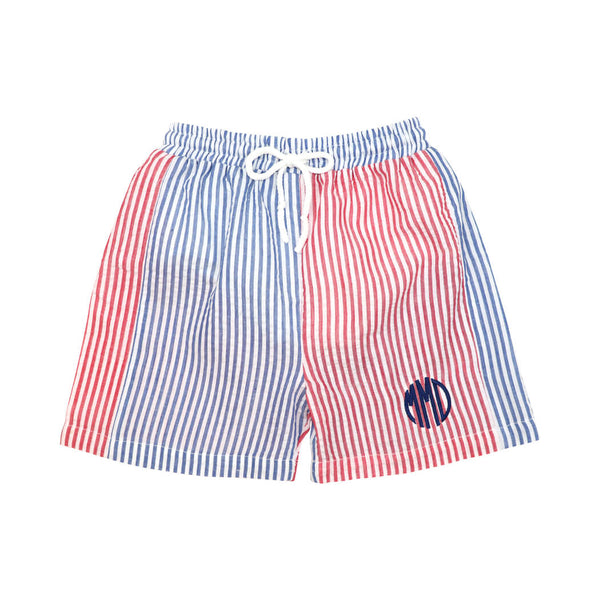 Navy and Red Seersucker Swim Trunks
