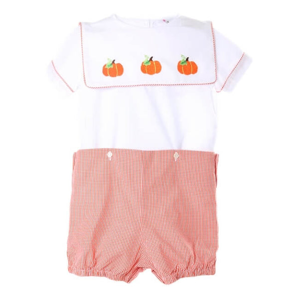 Orange Gingham Hand Embroidered Pumpkin Button-On Suit