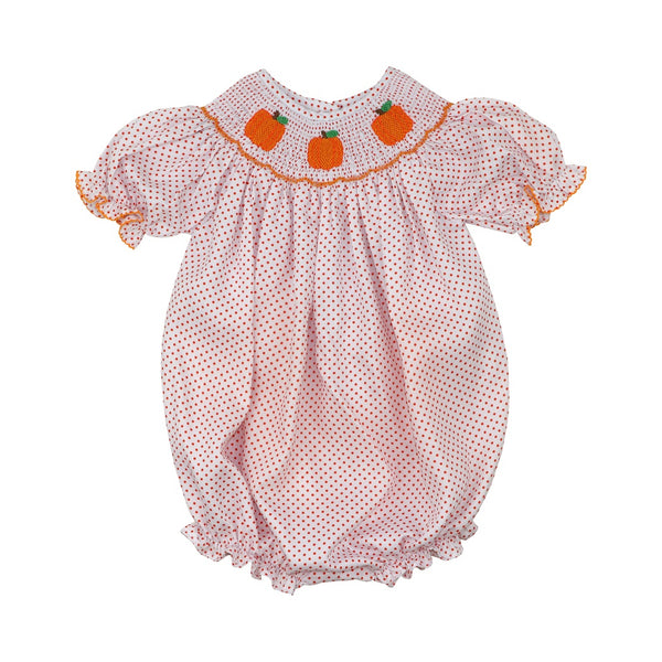 Orange Pique Dot Smocked Pumpkin Bubble