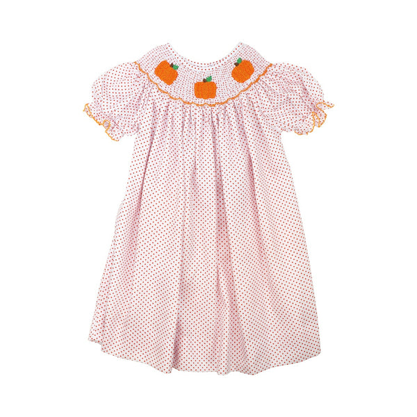 Orange Pique Dot Smocked Pumpkin Dress