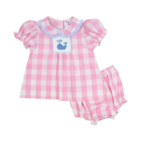 Pink Buffalo Check Smocked Whale Diaper Set