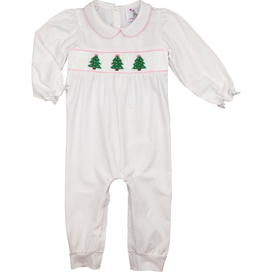 Pink Dot Knit Smocked Christmas Tree Long Bubble