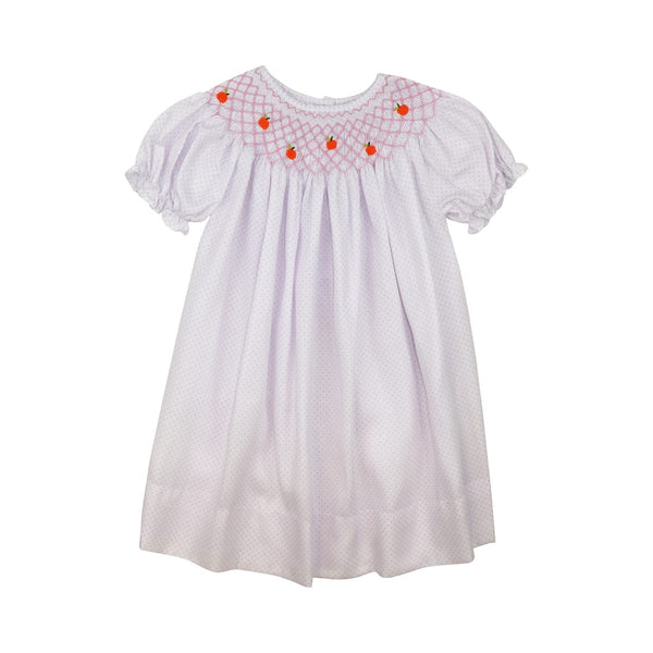 Pink Pique Dot Smocked Pumpkin Dress