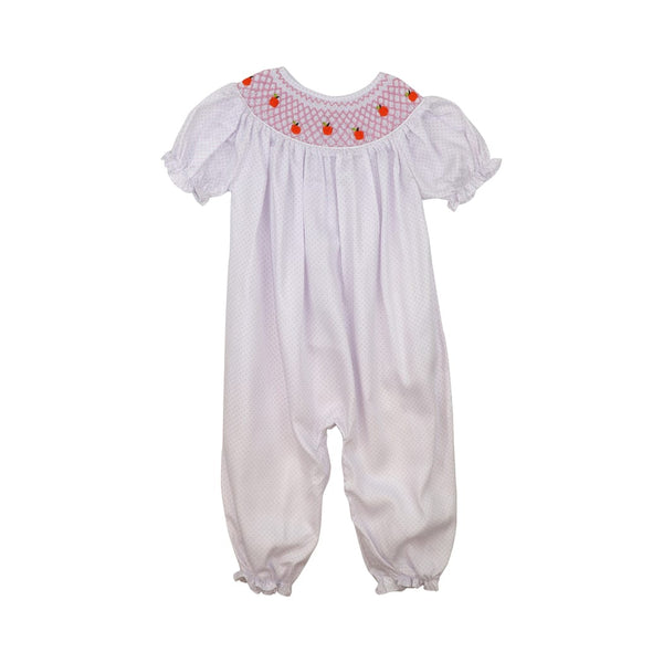 Pink Pique Dot Smocked Pumpkin Long Bubble
