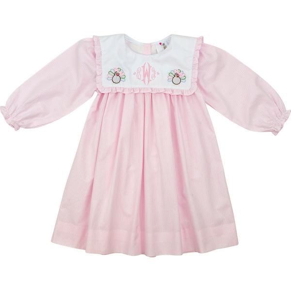 Pink Shadow Embroidered Turkey Dress