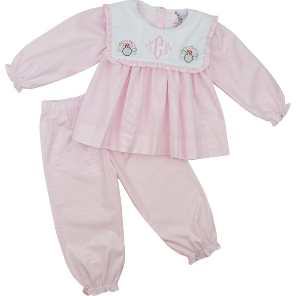 Pink Shadow Embroidered Turkey Pant Set