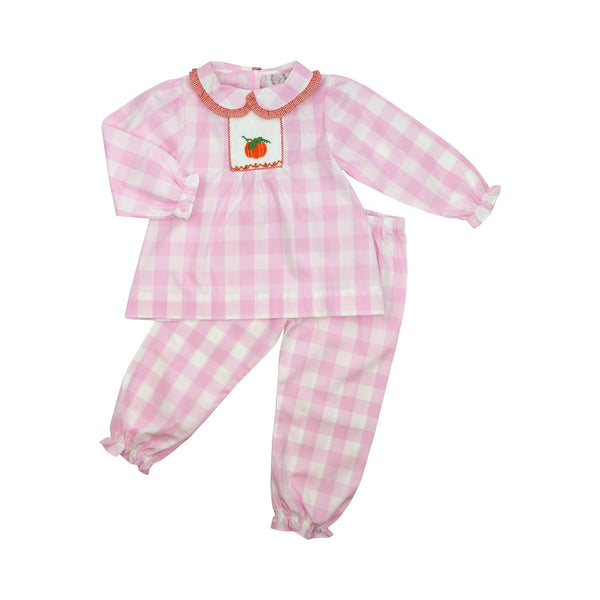 Pink Buffalo Check Smocked Pumpkin Pant Set