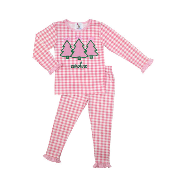 Pink Check Christmas Tree Pajamas