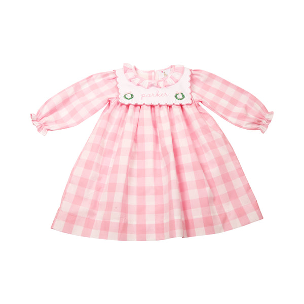 Pink Check Embroidered Christmas Wreath Dress