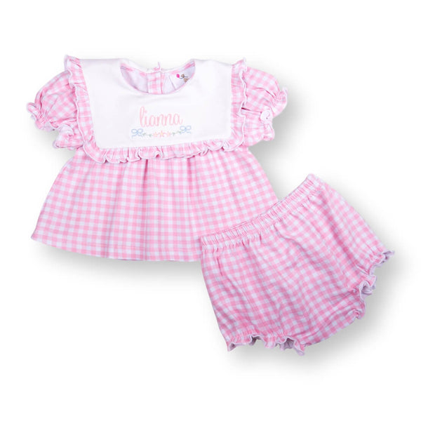Pink Check Knit Diaper Set