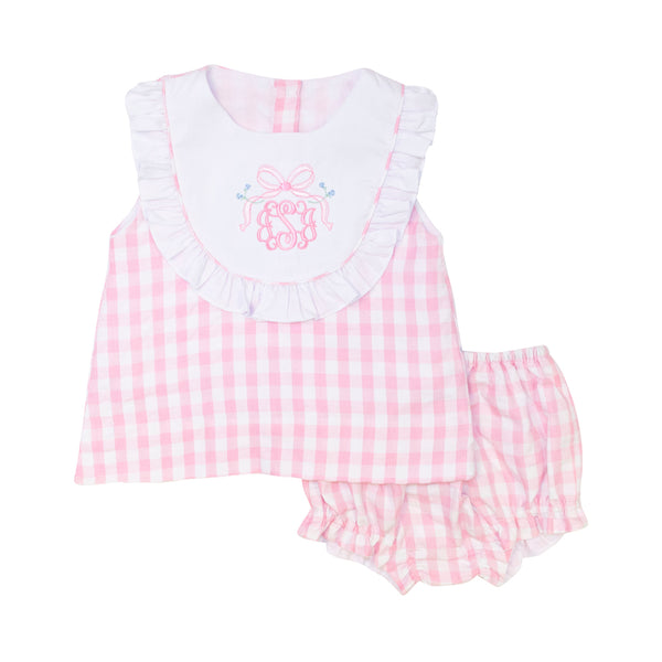Pink Check Seersucker Bib Diaper Set