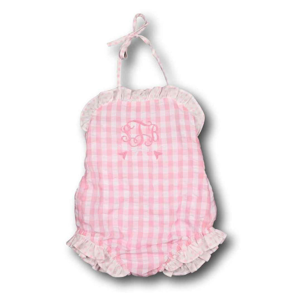 Pink Check Seersucker Ruffle Swimsuit