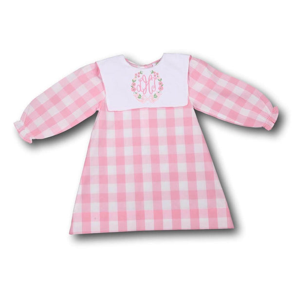 Pink Check Square Collar Dress