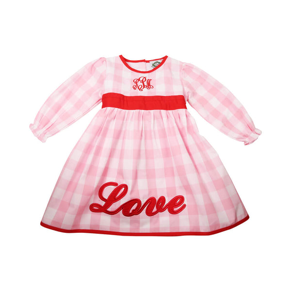"Pink Check Tie Back ""Love"" Dress"