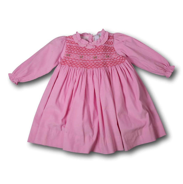 Pink Cord Geometric Smocked Dress