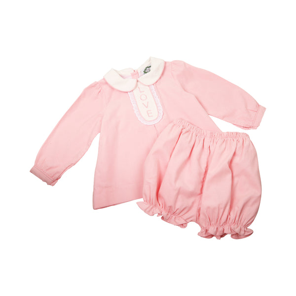 Pink Cord Love Bloomer Set