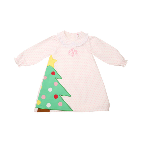 Pink Dot Applique Christmas Tree Dress