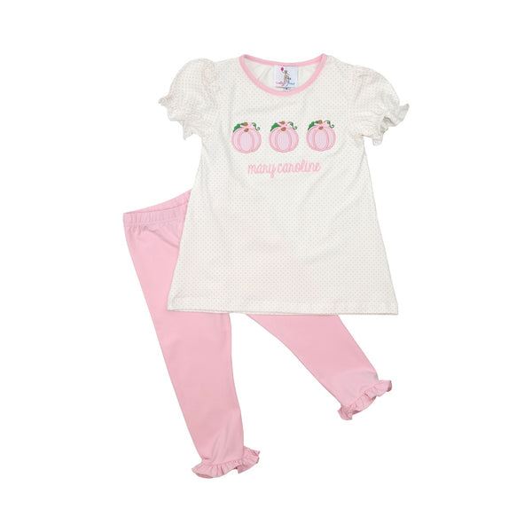 Pink Dot Knit Pumpkin Legging Set