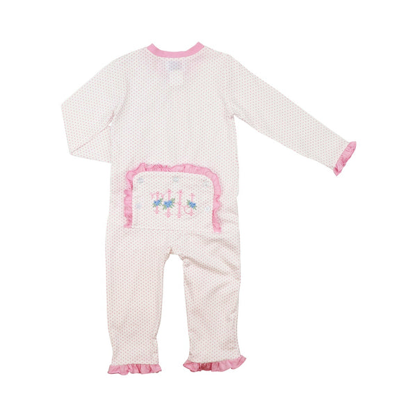 Pink Dot Knit Zipper Pajamas