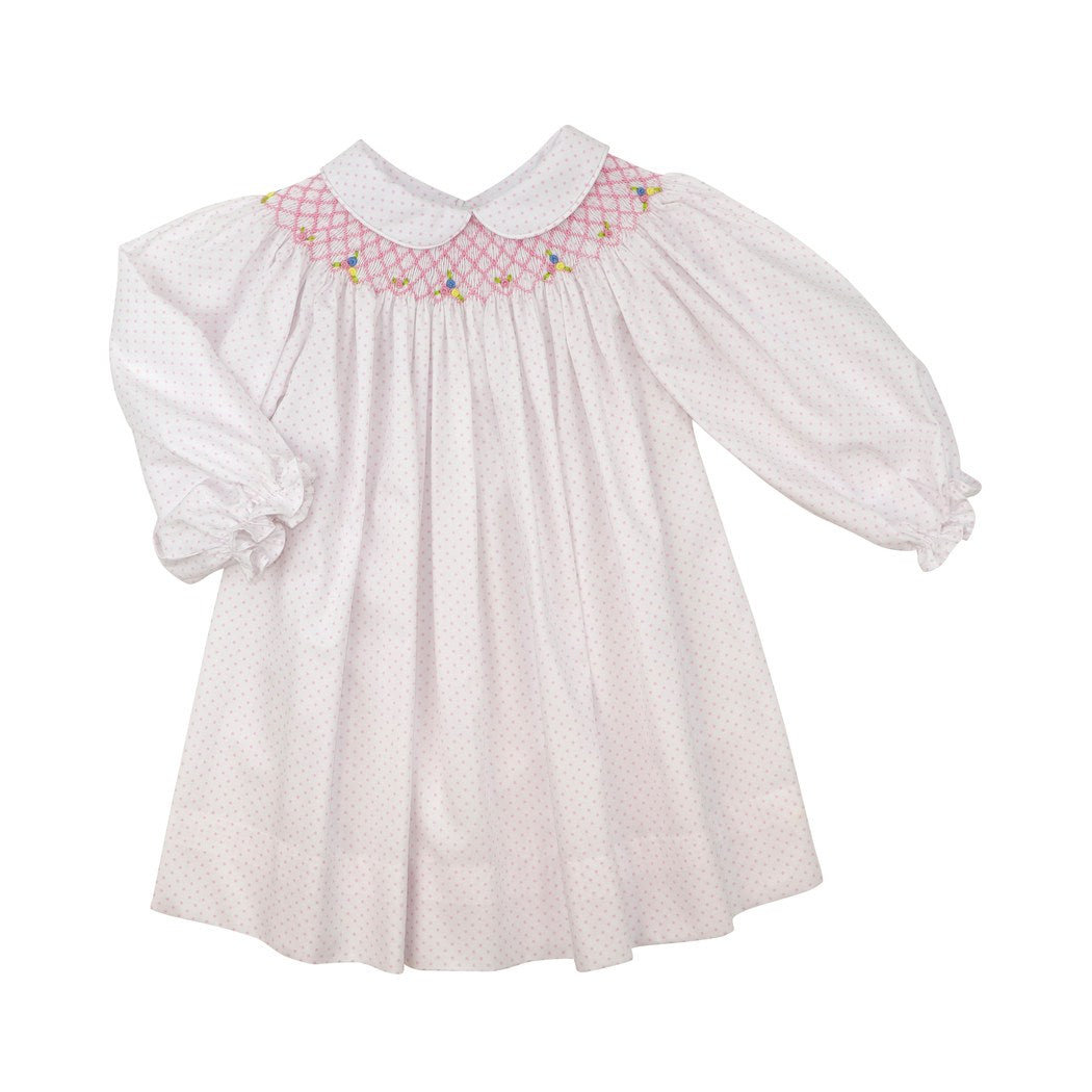 Pink Dot Pique Smocked Dress