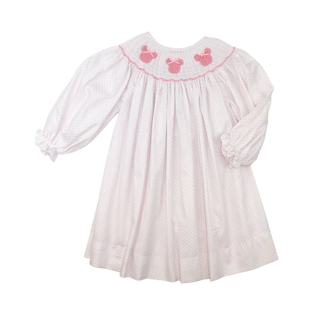 Pink Dot Pique Smocked Mouse Ear Dress