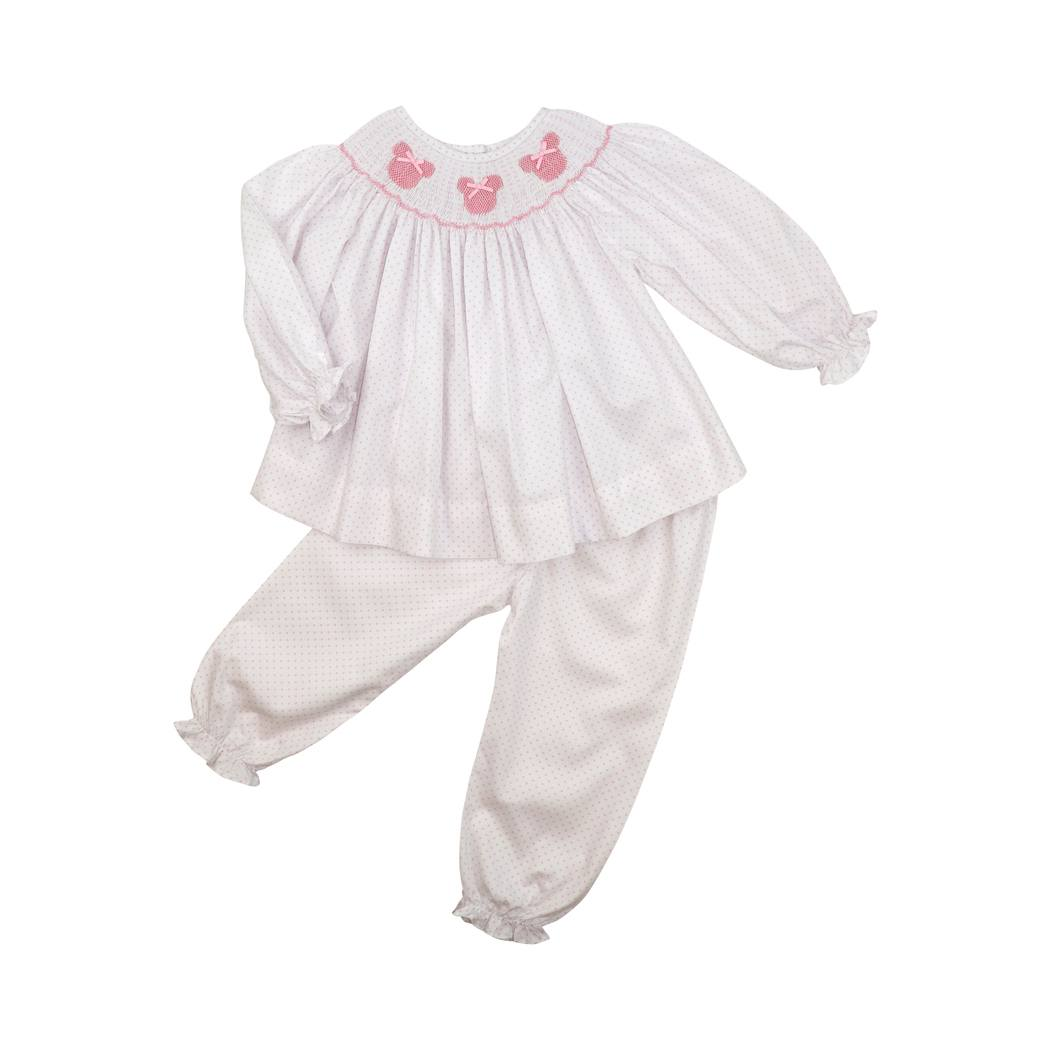 Pink Dot Pique Smocked Mouse Ear Pant Set