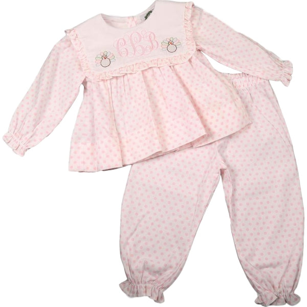 Pink Dot Shadow Embroidered Turkey Pant Set