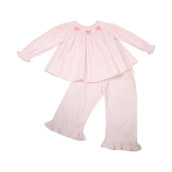 Pink Dot Smocked Heart Pant Set