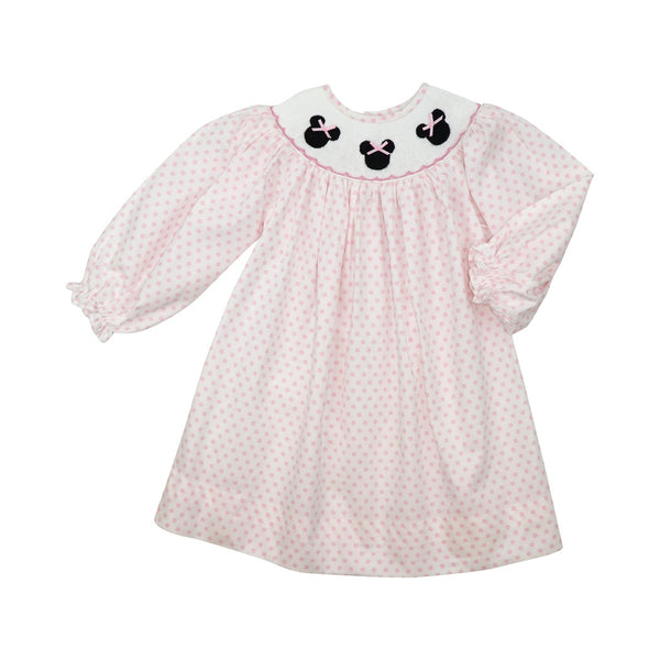 Pink Dot Smocked Mouse Ear Dress