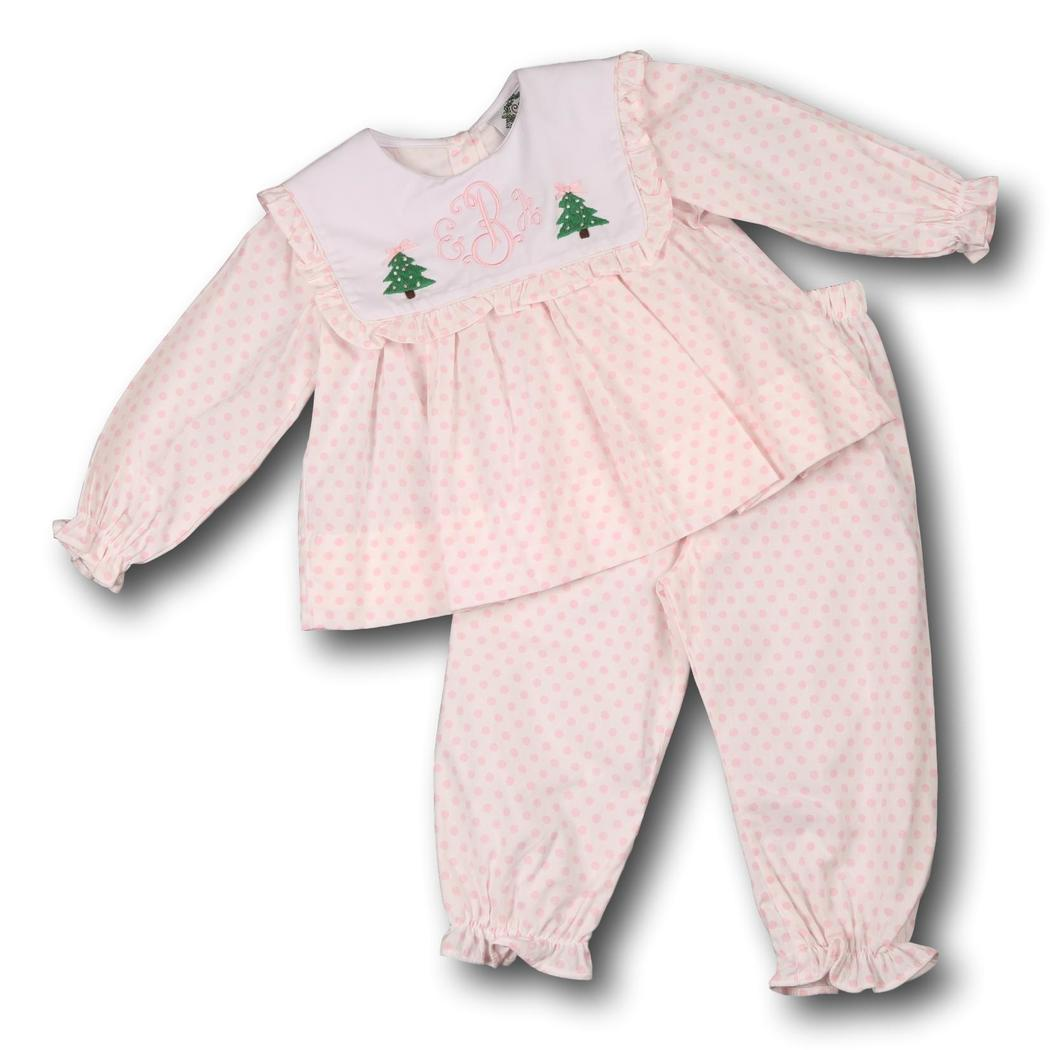Pink Dot Square Collar Christmas Tree Pant Set