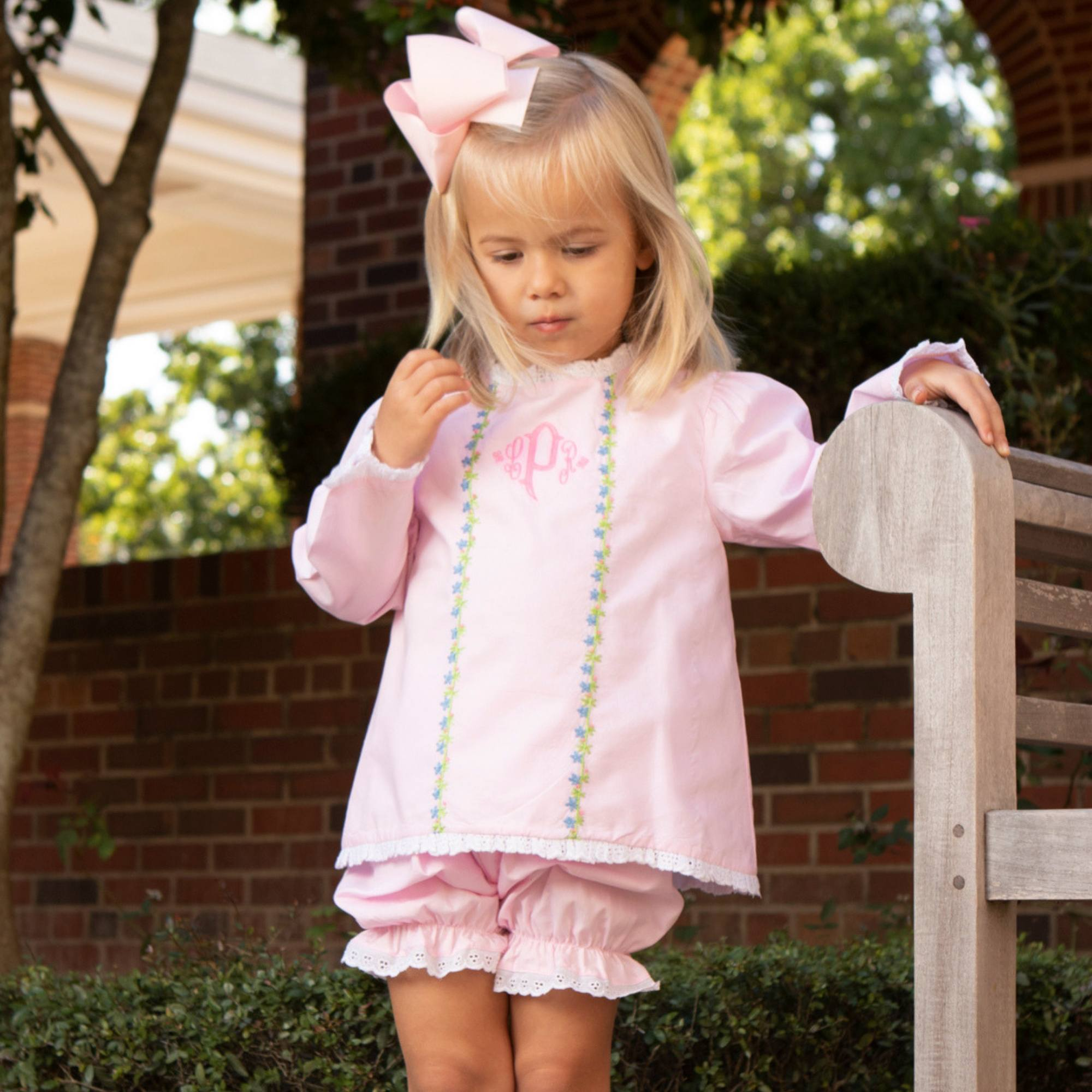 Pink Embroidered Flowers Bloomer Set