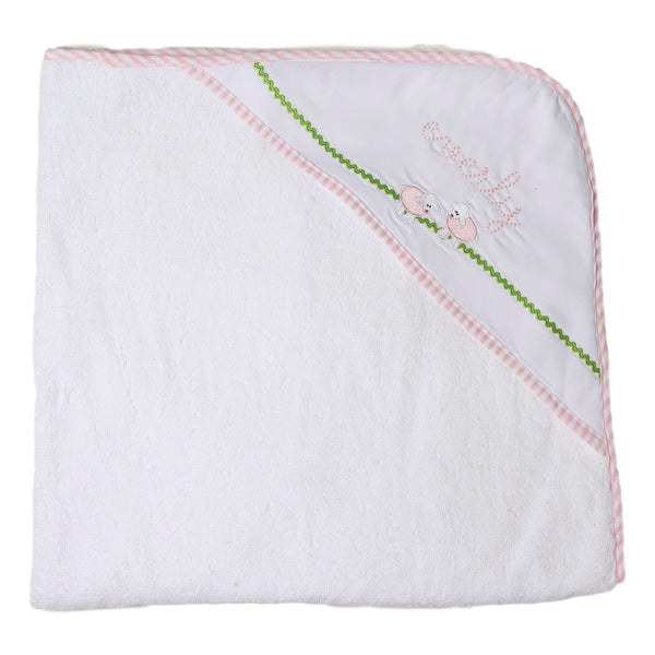 Pink Embroidered Lamb Hooded Beach/Bath Towel