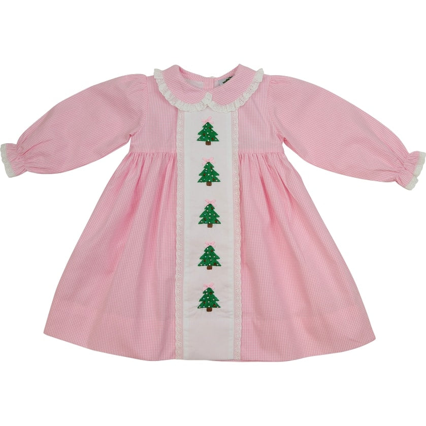 Pink Gingham Embroidered Christmas Tree Dress
