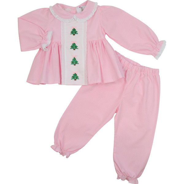 Pink Gingham Embroidered Christmas Tree Pant Set