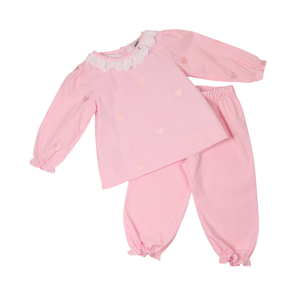 Pink Gingham Embroidered Tiny Heart Pant Set