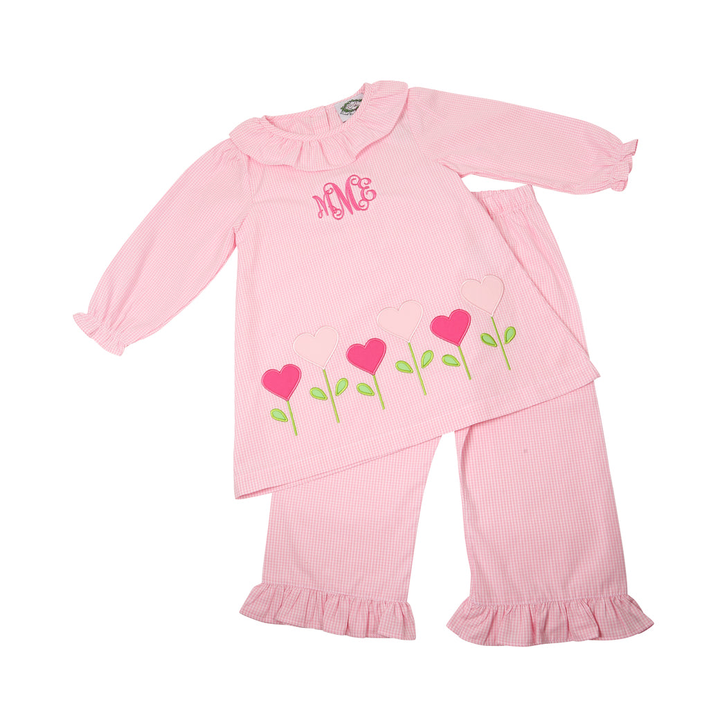 Pink Gingham Heart Flowers Pant Set