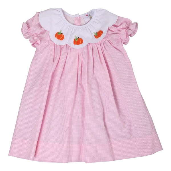 Pink Gingham Scalloped Collar Pumpkin Dress