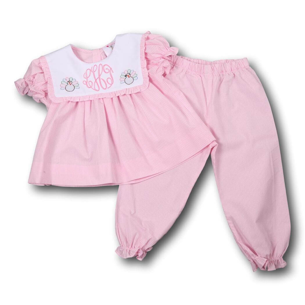 Pink Gingham Shadow Embroidered Turkey Pant Set