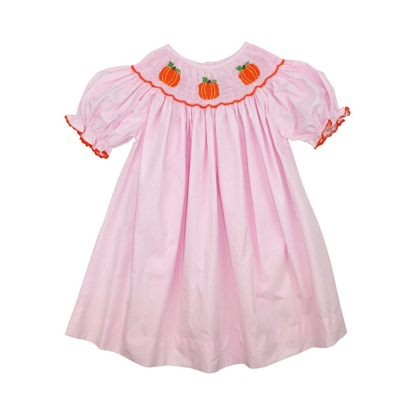 Pink Gingham Smocked Pumpkin Dress
