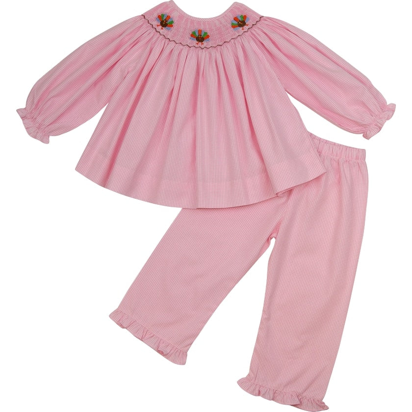 Pink Gingham Smocked Turkey Pant Set