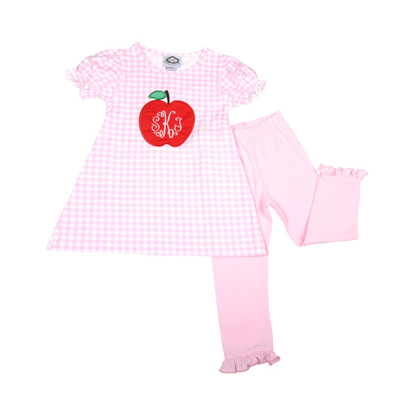 Pink Knit Check Applique Apple Legging Set