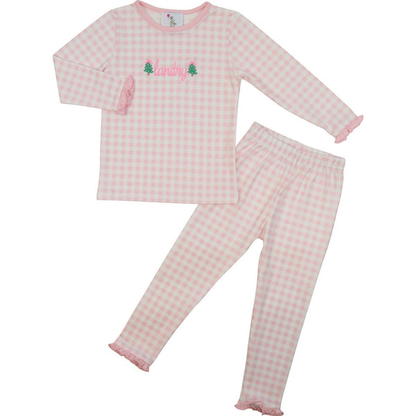 Pink Knit Check Ruffle PJ Set