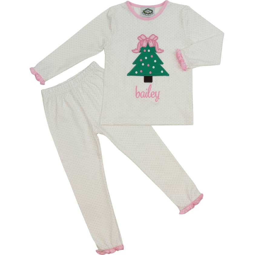 Pink Knit Dot Christmas Tree PJ Set