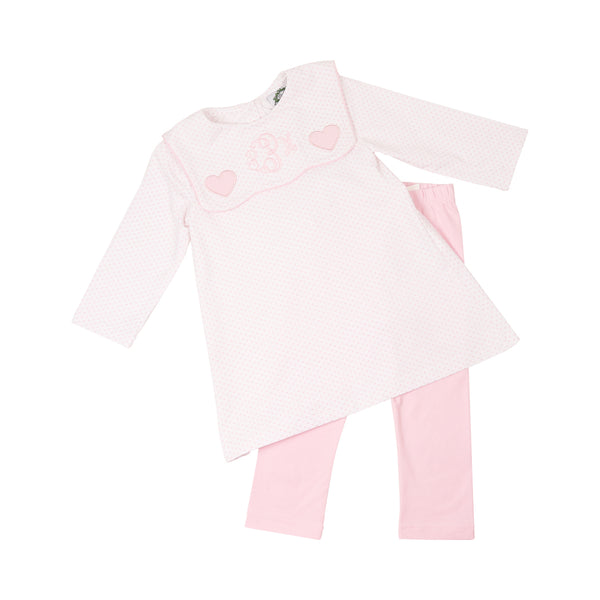 Pink Knit Dot Embroidered Heart Legging Set