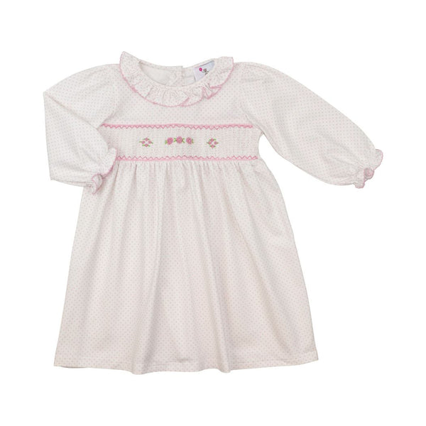Pink Knit Dot Smocked Dress