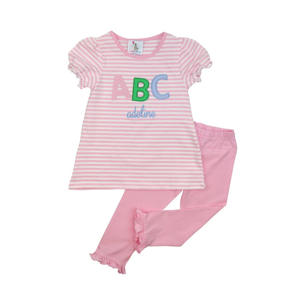 Pink Knit Stripe ABC Legging Set
